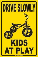 Drive Slowly Kids At Play Aluminum Metal Traffic Parking Road Street Safety Sign