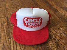 True Vintage Circle Track Magazine Red White Snapback Trucker Hat Baseball Cap