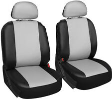 Faux Leather Car Seat Covers White Black 6pc Bucket Set w/Detachable Head Rests