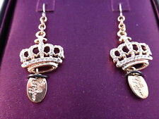 Chilli Pepper Diamante Gold Tone Crown Earrings - Gift Boxed