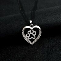 """CRYSTAL PAW HEART DOG CAT pendant 22"""" Sterling Silver 925 necklace chain female"""
