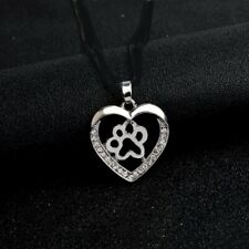 """CRYSTAL PAW HEART DOG CAT pendant 20"""" Sterling Silver 925 necklace chain female"""