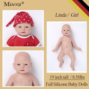 "Soft Silicone Reborn Baby Doll Realistic Newborn Lifelike Handmade Baby Girl 19"""