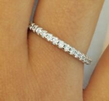 .50 CT Diamond French Pave Wedding Band Ring 2 mm Round 14k White Gold Stackable
