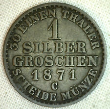 1871 C German States PRUSSIA Silber Groschen KM# 485 XF Silver World Coin #P