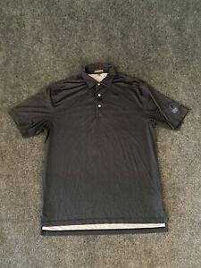 Peter Millar Summer Comfort Golf Polo Shirt Charcoal Gray Purple White Dot Sz L