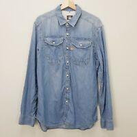 G STAR RAW Mens Size XXL Blue Long Sleeve Worker Denim Shirt