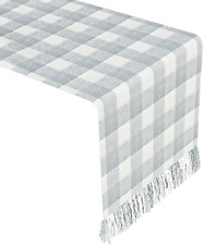 OEEAU Buffalo Plaid Table Runner Gray and White Checked Table Runner with Tassel