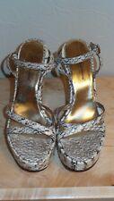 Dolce & Gabbana Beige Snake Embossed Platform Sandals Size 40/9.5 Pre-Owned