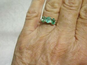 Emerald, Columbian, Sterling Silver Ring Size 7