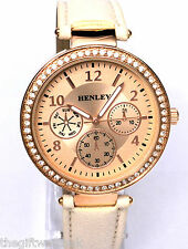 Current Henley Ladies Rose Gold Tone Watch Crystal Rim Beige Faux Leather Strap