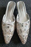 BNIB Ladies Ivory Sequined Mules Shoes S 6 Kitten Heel Pakistani Asian Wedding