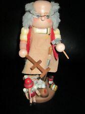 "Deluxe 11"" Unique Rare Geppetto Pinocchio Wood Nutcracker Puppet Christmas Maker"