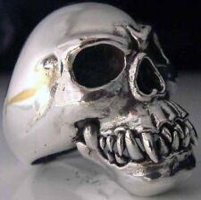 Stainless Fang Skull Biker Ring Custom Size Vampire VooDoo handmade MC R013ss