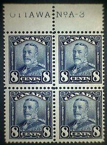 Canada Scott #154 Block MNH George V Scroll Issue 8c Blue *Imprint Block A-3*