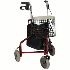 Invacare Delta Lightweight Tri Walker 3 Wheel Walking Frame Bag Basket & Tray