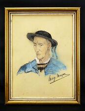 Portrait de Breton signé MEYER .Pastel original .BRETAGNE/FINISTERE BRITTANY
