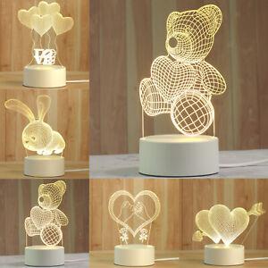 Fashion Desk 3D LED USB Night Light Creative Bedroom Table Lamp Child Gift