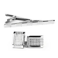 Men's Groom Wedding cufflinks and Tie Clip Pin Clasp Bar Set Silver Simple Gift