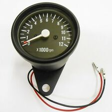 Tachometer Black 0-12,000 RPM 1=1:4 Ratio Tach Cafe Racer Custom Honda CB CL CM