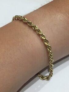 "Solid 14K GOLD braided BRACELET 7"" long 2.59 grams"