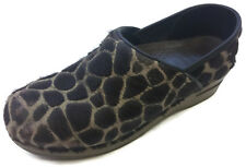 Dansko Women Brown Leopard Cheetah Pattern Fur Clogs Shoes Size Eur 39 US 8.5