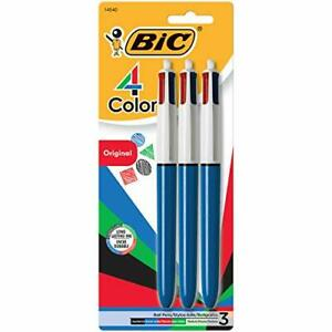 BIC 4-Color Ballpoint Pen Medium Point 1.0mm Assorted Inks 3-Count