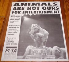 Vtg Animal Rights Activist PETA Not Entertainment Circus Elephants Vegan POSTER