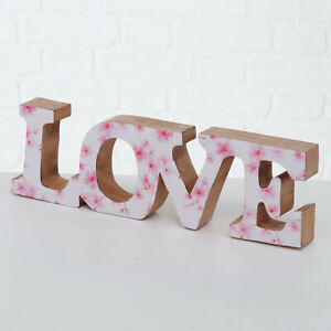 Standing Wooden Pink Floral Love Letters Wedding Gift Sculpture Ornament Art New