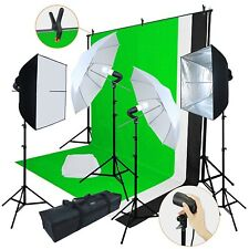 Professional Digital Photography Lighting Kit 3 Backdrop Equipment Gear Umbrella