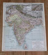 1900 ORIGINAL ANTIQUE MAP OF BRITISH INDIA / BENGAL PUNJAB NEPAL MADRAS MUMBAI