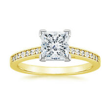 0.62 Ct Princess Cut Diamond Engagement Ring 14K Solid Yellow Gold Wedding Rings