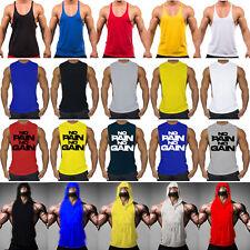 Mens Bodybuilding Stringer Tank Top Singlet Gym Muscle Fitness Sport Vest Shirt