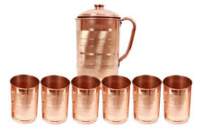 Copper Handmade Water Jug Pitcher+ 6 Tumbler Set Natural Ayurveda Good Health