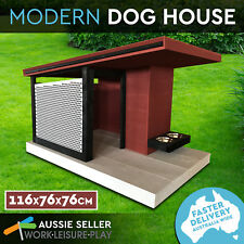 PROPET Dog House Modern Wooden 117X76X76CM Solid Pine Kennel Cage Metal Mesh Ste