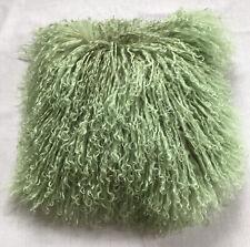 Real Mongolian Sheepskin Cushion - Green - 30x30cm