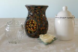 "YANKEE CANDLE mosaic amber candle melter/holder (5.5"") and cute candle holders"