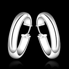 Hot 925Sterling Solid Silver Jewelry Bright Circel Hoop Earrings For Women E595