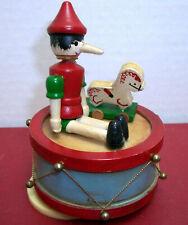 "Vintage Toy Land Pinochio Boy Revolving Drum Music Box Plays ""Toyland"" Christmas"