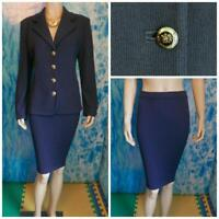 St. John Knits Basics Navy Blue Jacket Skirt L 10 2pc Suit Crest Logo Buttons
