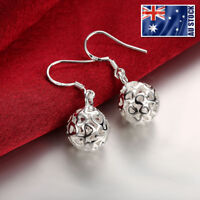 Stunning 925 Sterling Silver Filled 11MM Filigree Heart Hollow Ball Earrings