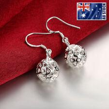 Stunning 925 Sterling Silver Filled 11MM Filigree Heart Hollow Ball Earrings
