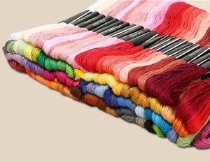 100 Farben Baumwolle Fäden Faden Band Stickereien für Handsticken Bastel 8 m F01