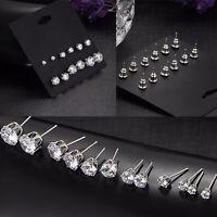 6 Paar Damen Mode Schmuck Weiß Kubisch Zirkon Kristall Ohr Zucht Ohrringe N B5L5
