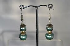 Hand Made Earrings Fern Green Glass Pearl Bead Drop Earrings Pierced