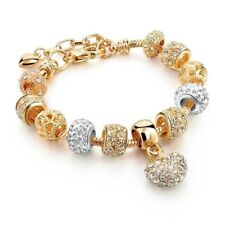 Crystal Heart Charm Bracelets for Women Gold Silver Beads Charms Ladies New