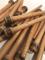 Quills, spools, Wood Textile Spinning Bobbins Lot of 50, free shipping