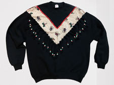 Vintage Jerzees Ugly Christmas Sweater Beads and Fringe Size XL Angels Beaded