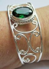 rare bracelet rigide ajustable bijou poinçonné argent 925 tourmaline émeraude 4
