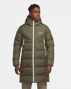 Men's Nike Sportswear Shield Parka Down-Fill Windrunner Jacket CU4408-380 Green